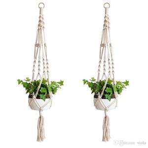 Plant Hanger Hook Flower Pot Handmade Knitting Natural Fine Cordage Planter Holder Basket Home Garden Balcony Decoration DHL