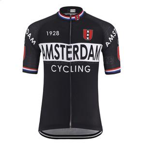 AMSTERDAM City flag Retro Cycling Jersey Men Summer Short Sleeve Black Road Racing Bike Clothing MTB Bicycle Clothes Riding Clothing