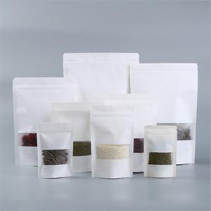 Blanca de papel Kraft Bolsas ventana transparente con cremallera de bloqueo a prueba de humedad se levanta la bolsa para hornear galletas Alimentación Snack-caramelo de almacenamiento en seco de la hierba de embalaje
