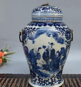 Jingdezhen antiga porcelana azul e branca Shouxing figura frasco antigo pote de chá antigo cerimônia do chá antiga fábrica decoração antiga