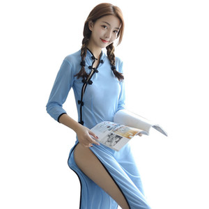 Chinese Classical Cheongsam Student's Dress Retro Collar See Through Role Play Women Sexy Nightwear Sleepwear Sexy Lingerie J190613