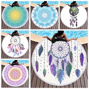 Mandala Microfiber Towel Beach Towel For Adult Kids Yoga Mat Tassel Dreamcatcher Bohemia Large Round Towel 150cm Tapestry Home Decor