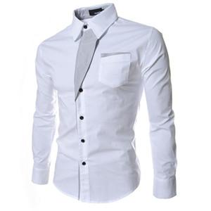 Nuevas camisas de vestir para hombre Solid ajuste delgado de la vendimia de manga larga de un solo pecho-camisas de la manera ropa de los hombres de negocios de moda ocasionales tapas M-3XL