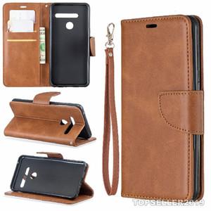 Pour LG G8 THINQ G8s Motif Sheep Pure Color Designer en cuir Téléphone couverture de cas stand de style de carte Argent comptant Porte-monnaie design B186