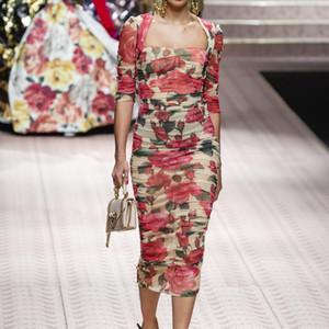 2019 Ladies Luxury Newest stampa floreale increspato scollo quadrato abiti a metà polpaccio donne abiti manica sfilata manica 3/4 190111J13