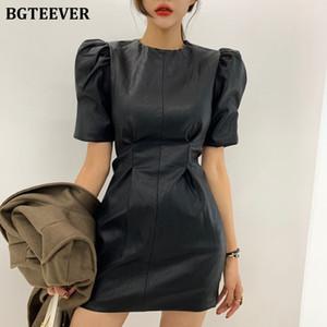 BGTEEVER Street PU-Leder-Frauen-Kleid mit Puffärmeln dünner Taille Weiblich, figurbetonten Kleid Frühling Damen schwarz Kunstleder Vestidos