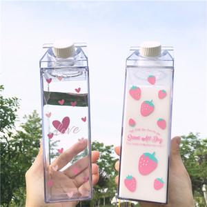 1PCS 크리 에이 티브 사쿠라 딸기 550ml 광장 물병 우유 상자 휴대용 내 마시는 병 BPA 무료 여자 아이 학교에 대한