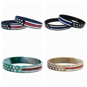 4 stili US Wrist Band US linea rossa blu e American Flag silicone del polso del braccialetto Party Band Favorire ZZA2159 100Pcs