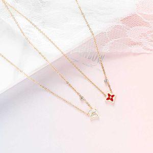 Collar del trébol del esmalte Shell para la Mujer de acero inoxidable planta de circón geométrica de los colgantes del boda de la marca de joyería Z359