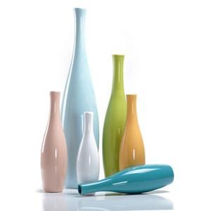 Estilo europeu Vaso De Cerâmica flor colorida garrafa Adorno Artesanato escritório Porcelana Vaso de Decoração Para Casa Artigos de decoração