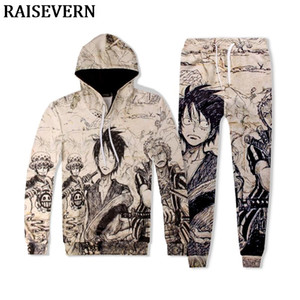 The Pirate King Anime Einteilige Hoodies Luffy Men Sets 3D Trainingsanzüge Jogginghose 2 STÜCKE Mit Kapuze Sweatshirts Pullover + Jogger Hosen