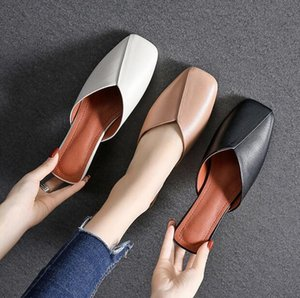 2020 half-to-side rumor summer new wild thick bottom hollow sandals lazy little white baotou female slippers