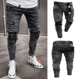 Mens Designer Jeans neige Gris Spark drapées Washed Pantalon long Crayon Mode Trous de genou élastiques Jeans Zipper