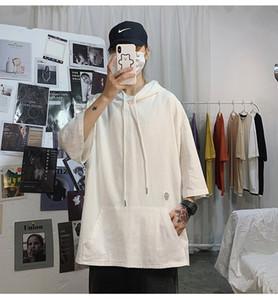 Mens Tasarımcısı T Shirt Kapşonlu Tişörtler Saf Renk Yarım Kol Giyim Erkek Casual Tops ile düzenli Uzunluğu