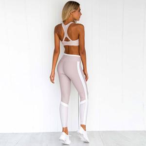 Set hollowing Spor Tracksuits Lady Karın Kontrol Giyim 60zca E19 İçin En Uzun Pantolon Leggings kırpma Bras tankları Koşu 2 Adet Kadınlar Yoga