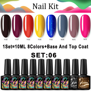 Lacheer 10PCS / LOT Amarelo Cor Gel UV Nail Polish Soak Off Led unhas de gel Lacquer Set Semi Permanente Glitter verniz UV