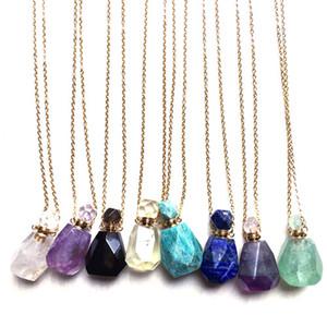 Из нержавеющей стали Gemstone Природные Целебные камни Эфирное масло Духи бутылки ожерелье Чакра Кристалл кварца бутылки дух ювелирных изделий
