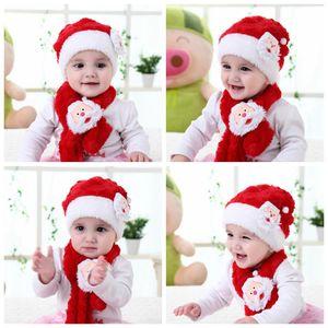 Les enfants du Père Noël Chapeau Foulard enfants en peluche Cartoon Chapeau Écharpe Ensemble Enfants d'hiver chaud Cap fête de Noël Faveur XD22730
