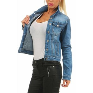 Womens Spring Slim Jean Jackets Solid Washed Fashion Ladies Short Coats Lapel Neck Single Breasted Female Outerwears