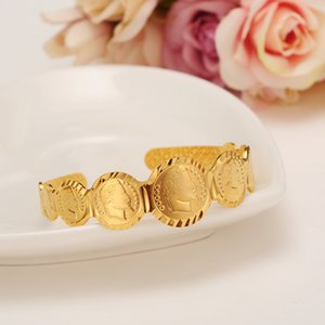 Dubai Gold coin cuff Bangle bracelet women girl Bracelet african Children Bairn Jewelry men mideast Arab Gift