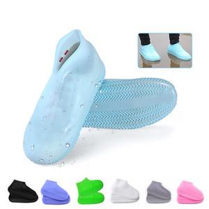 Bedecken Schuhe Silikon-Gel-Wasserdichte Regen Schuh-Abdeckungen wiederverwendbare Gummielastizität Überschuh Anti-Rutsch-Unisex Wear-Resistant Recycelbar