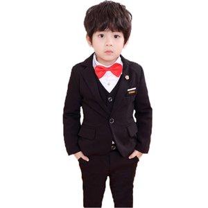 2020 Summer Kids Jacket Vest Pants 3Pcs Wedding Tuxedo Suit Flower Boys Formal Blazer Clothing Set Children Birthday Costume