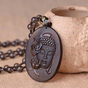 Природные обсидиана Гуаньинь медитация ожерелье шарма Ювелирная мода аксессуары ручной работы Резные Amulet Man Luck Подарки