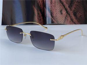 Bestseller Großhandel Sonnenbrillen 5634295 Ultraleicht quadratische rahmenlose tier metall tempel retro avantgarde design uv400 helle farbige objektiv