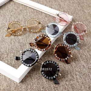 مصمم جدي جديد مستديرة معدن الرسالة إطار النظارات الشمسية والفتيان والفتيات لطيف نظارات نظارات موضة الظل UV400 الشمس glassesDR3572