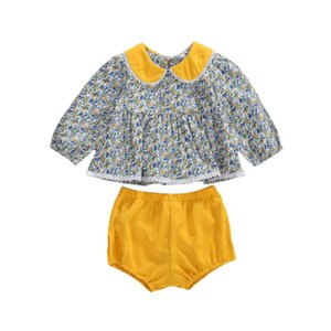 0-24M Newborn Infant Kids Baby Girl Floral Long Sleeve Doll Collar Tops T-shirt Elastic Waist Shorts 2Pcs Set Clothes Outfits