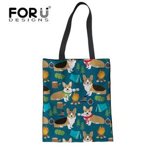FORUDESIGNS Cute Cartoon Corgis Impreso Tote Bag Mujer Eco Reusable Shopping Bolsas de viaje Bolsa de almacenamiento plegable Shopping