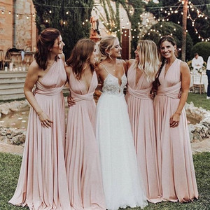 Luz rosa conversível vestidos de dama de honra 2019 barato duas maneiras de usar plissado estilo country flowing vestidos de festa de casamento de hóspedes de praia bm0232