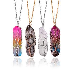 Regenbogen-Kristall-Quarz-Anhänger-Halskette für Frauen Natursteine Sechseckprismas Healing Punkt-Leben-Baum Chakra Pendel Yoga Charm Schmuck