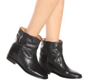 Mükemmel Kalite Isabel Küme Deri Çizme Paris Sokak Modası Marant Yeni Gerçek Deri Ayakkabı Yuvarlak Burun Bilek Boots