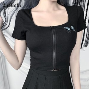 InsGoth черный Bodycon с коротким рукавом летние футболки уличная готическая молния футболка Женщины Повседневная квадратная шея старинные топы тройники