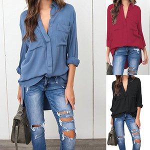 2019 nouveau bureau design de mode Chemisier Wear Manches longues pour femmes Bureau Lady Casual Shirt classique Denim Chemises Ypf502