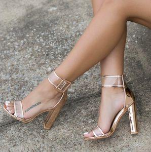 XingDeng Ladies Bandage Transparent Sexy Summer Party Flock Sandal Shoes 35-42 SizeWomen Ankle Strap High Heel Sandals Shoes