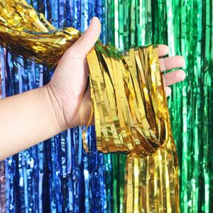 Party Hochzeit DIY Hintergrund Folie Lametta Fringe 2 Mt Pailletten Quasten Vorhang Brithday Feier Dekoration 7 Farben Party Supplies