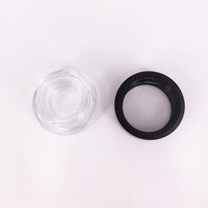 recipiente de vidro stash jar 2 ml 5 ml logotipo personalizado claro dab rig caso de óleo de cera mini pequeno frasco cosmético com tampa preta óleo grosso