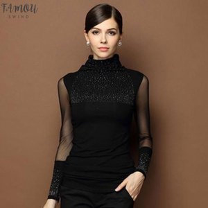 Hot Fashion Autumn Women Sexy Tops Blusas Slim Lace Solid Long Sleeve Women T Shirt Casual Shirt Beaded Openwork Clothes Plus Size