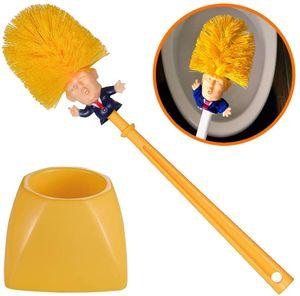 Creative Trump Toilet Brush Holder Donald Trump Toilet Brush Head Silicone Bathroom WC Cleaning Brushes Set Statues Yellow Brush