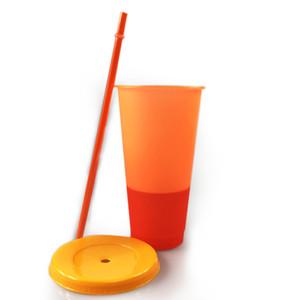 24 onças Mudando a cor do Tumbler plástico suco de beber Copa com tampa e Straw Magia Coffee Milk Cup Doce Cor Tumbler A03