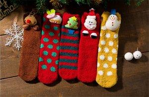 piso Dormir de Natal da mulher e do bebê meias de coral fleece espessas meias toalha meias quentes família