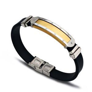 Yeni Trendy Erkek Hediye Serin Siyah Silikon Bilezikler Yüksek Kalite 3 Renkler Paslanmaz Çelik Etiket Bileklik
