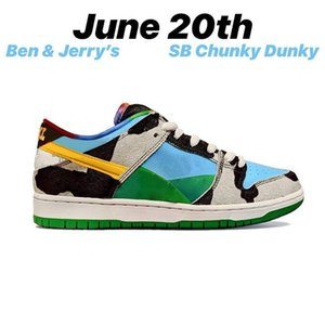 2020 New Ben and Jerrys x SB Dunk Low Pro Chunky Dunky White Lagoon Pulse-Black-Universit Running Shoes Sports Skate With Box Size 36-45