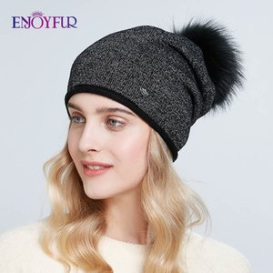 ENJOYFUR Sombreros de la moda de invierno para las mujeres de punto real de pieles gruesas Pompón Sombrero Gorros de lana caliente