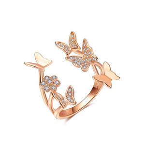 Cristal Borboleta anel de diamante Abrir luxo designer de jóias anel de casamento das mulheres anéis de designer de moda jóias