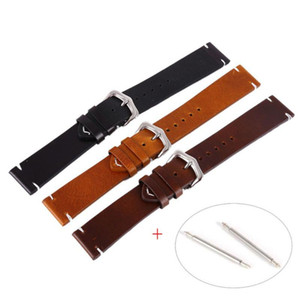 Piel Cera de petróleo negro correas de reloj de la vendimia correa de cuero genuino reloj becerro correas 18mm 20mm 22mm pulsera de acero Brown