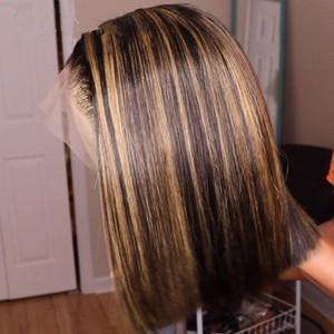 Ombre highlight perücke bob braun honig blonde farbig gerader hd ganzen spitze front menschliches haarperücken gerade volle 360 spitze frontal perücke remy