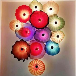 Özel Üretim Üflemeli Cam Duvar Plates UL Belgesi Chihuly Stil borosilikat Cam Sanatı El Cam Çiçek Wall Art Tabaklar Üflemeli